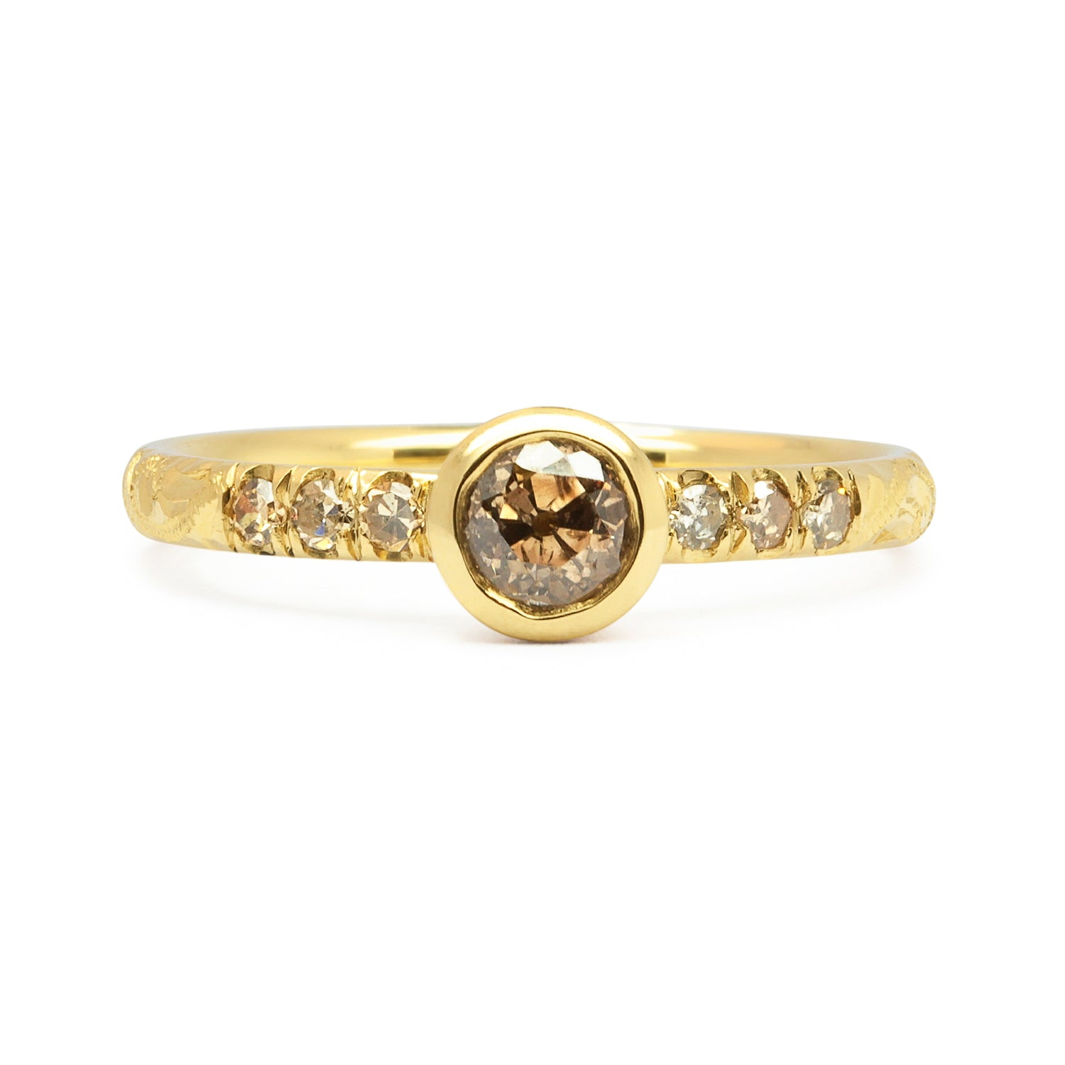 Hebe Antique Cognac Diamond Engagement Ring, Ethical Gold