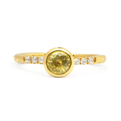 Large Hebe Yellow Sapphire Engagement Ring, Ethical Gold