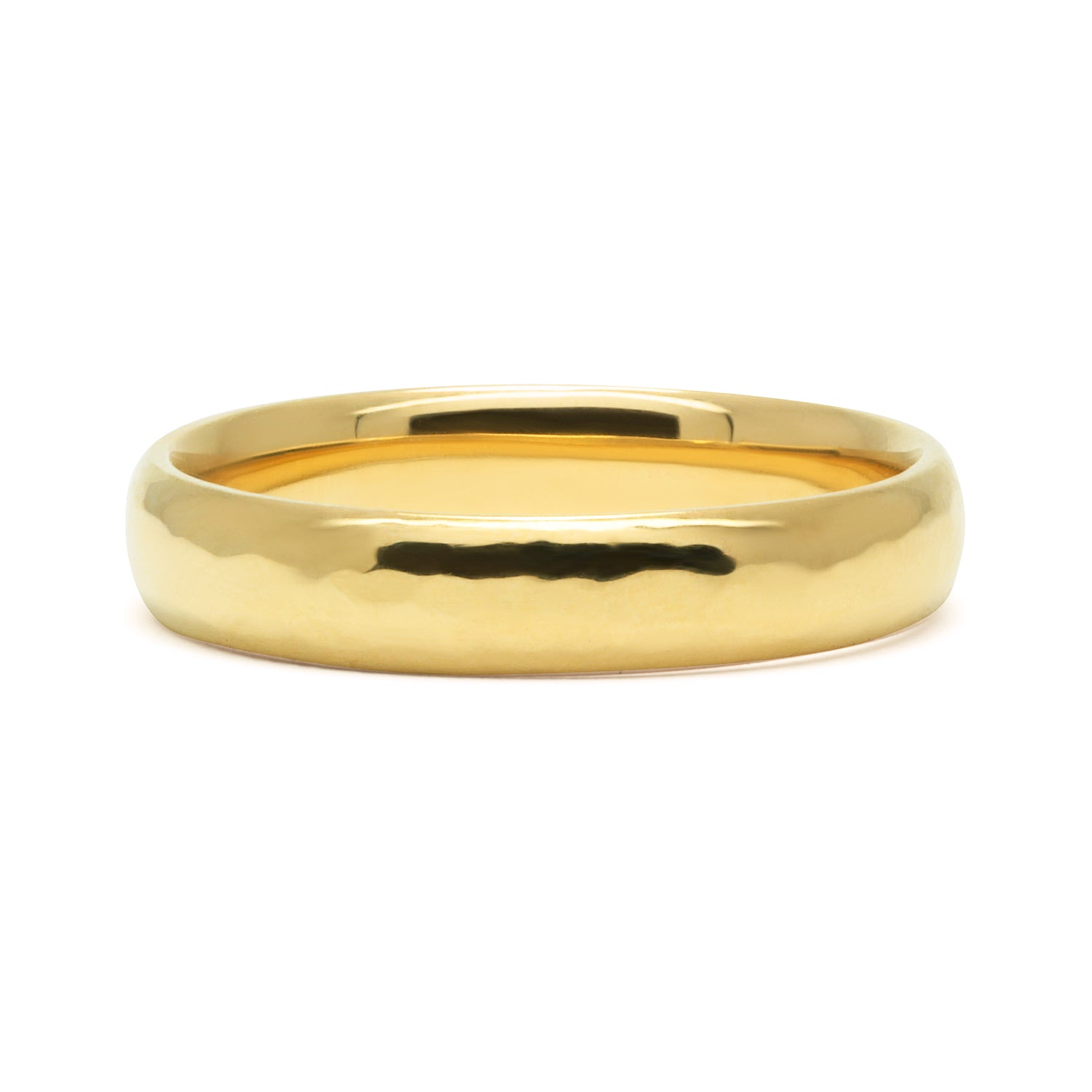 Court Soft Hammered Polished Ethical Gold Wedding Ring, Medium