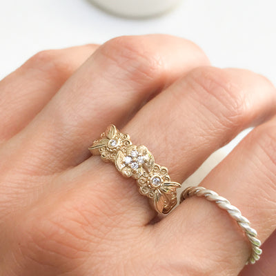 Bespoke Lace Engagement Ring, Recycled Yellow Gold and Ethical Diamonds 4