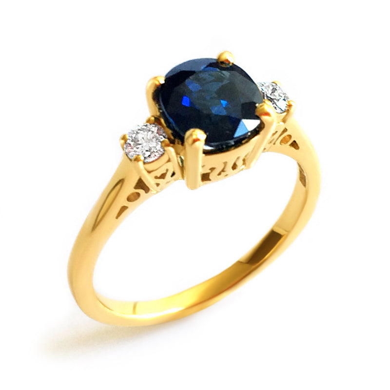 Bespoke Jewellery - Mary Engagement Sapphire Diamond Gold ring - Arabel Lebrusan