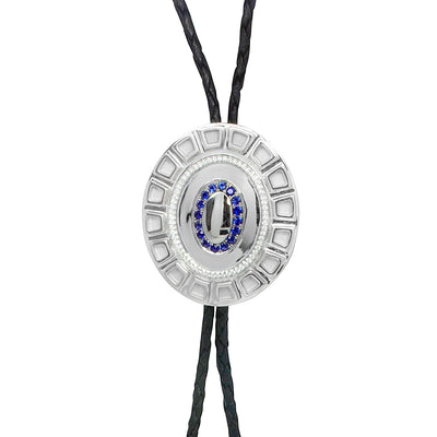 Bespoke Bolo Tie - 18ct white gold, brilliant-cut diamonds and ethical blue sapphires