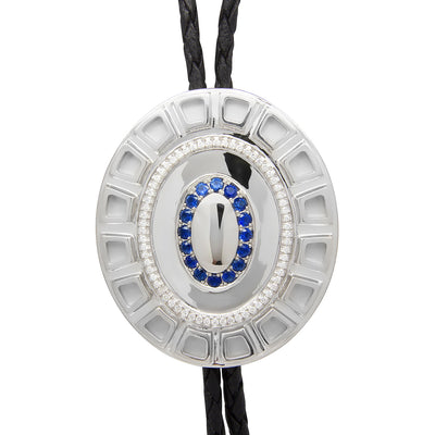 Bespoke Bolo Tie - 18ct white gold, brilliant-cut diamonds and ethical blue sapphires 4