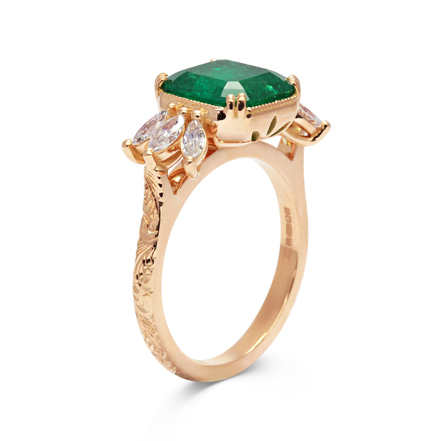 Bespoke Madeline Antique Emerald Engagement Ring