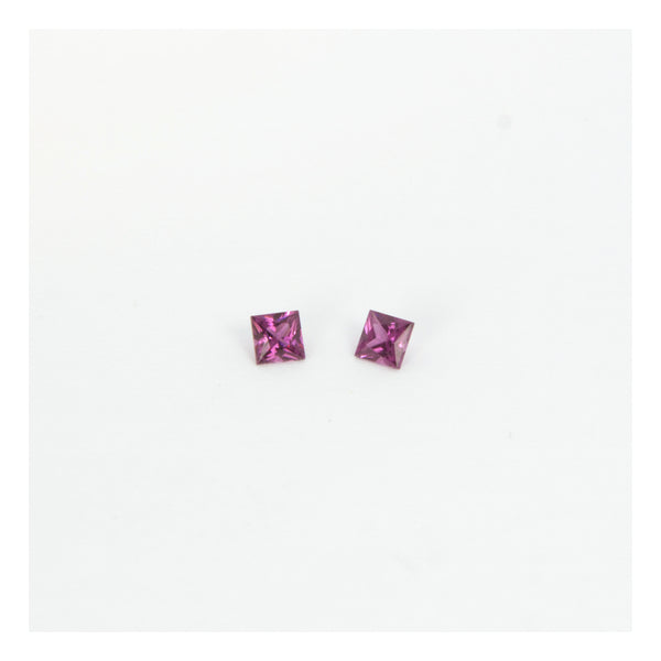 Rhodolite Garnets, 2 Princess Cut Gemstones