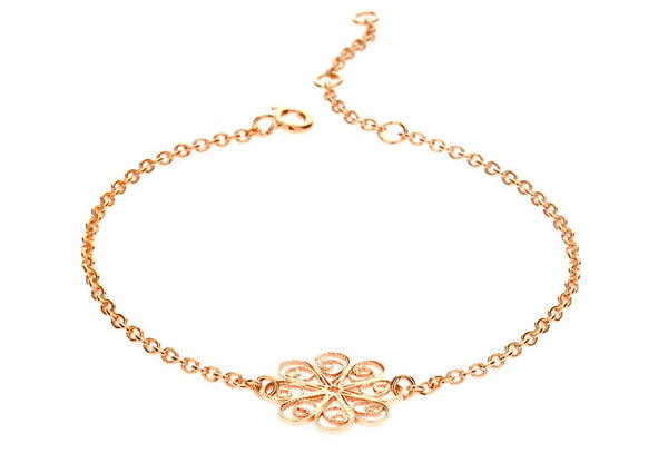 Filigree Friendship Rosette Bracelet. Rose Gold - Arabel Lebrusan