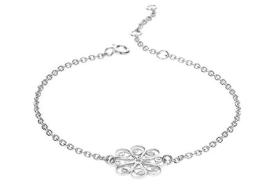 Filigree Friendship Rosette Bracelet. White - Arabel Lebrusan