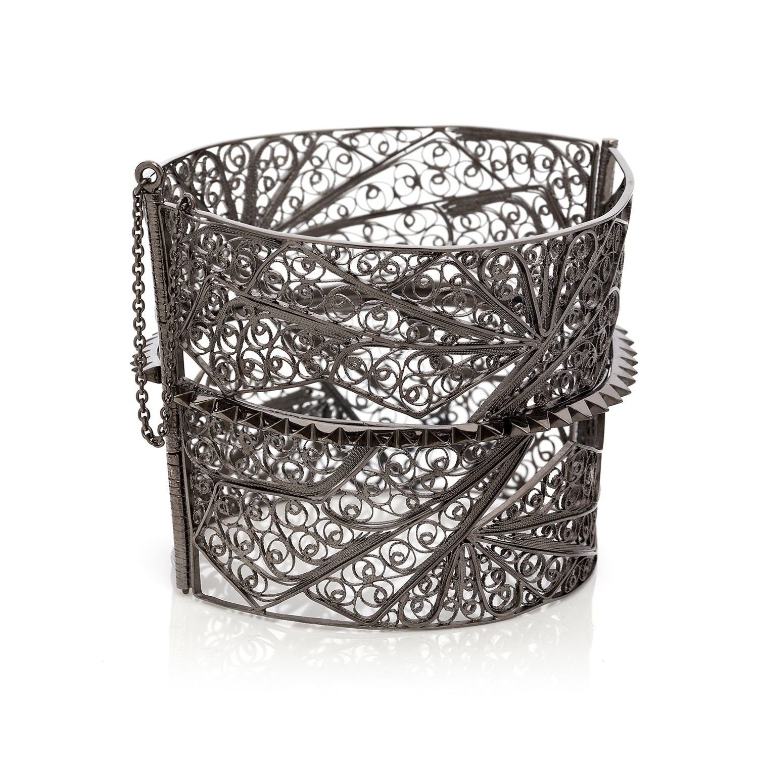 Studed Filigree Bangle. Hand-made Filigree technique. Sterling Silver