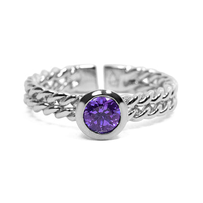 Ethical Gemstone Circle Silver Stacking Ring - Arabel Lebrusan