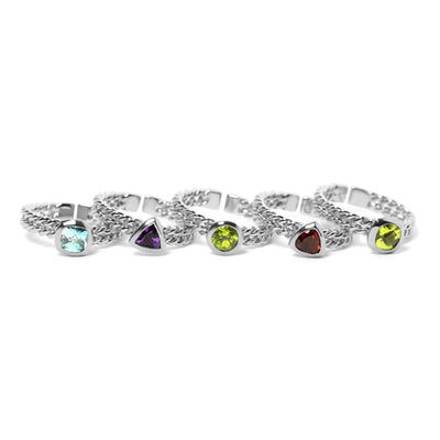 Ethical Gemstone Triangle Silver Stacking Ring - Arabel Lebrusan
