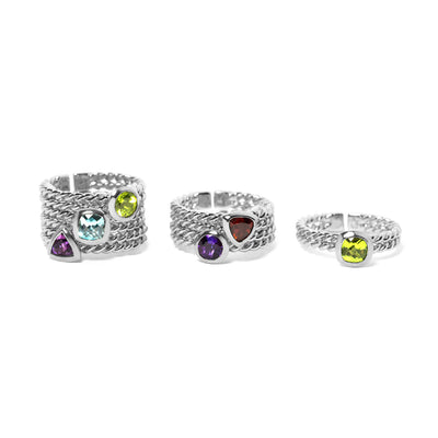 Ethical Gemstone Square Silver Stacking Ring - Arabel Lebrusan