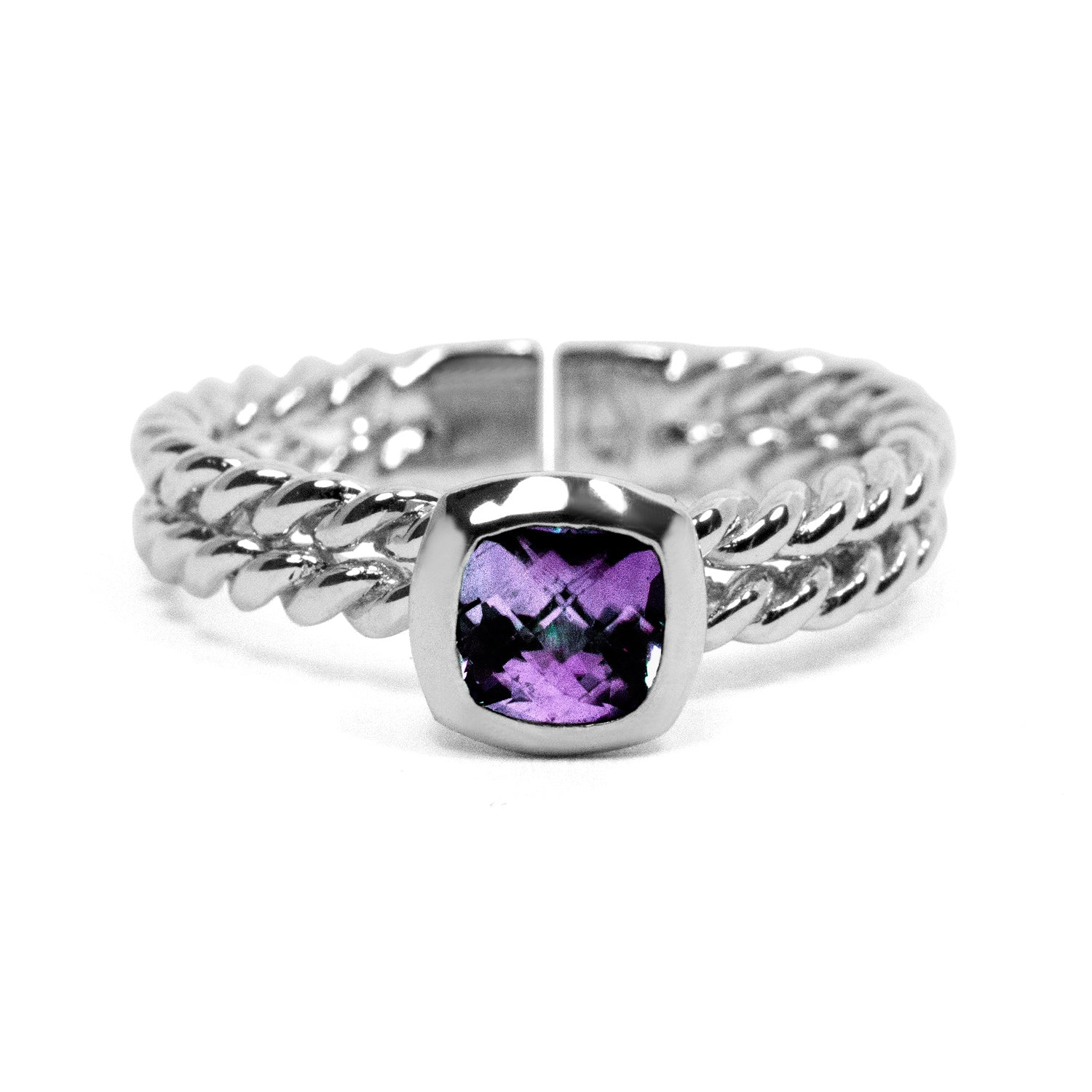Gemstone Cushion Stacking Ring