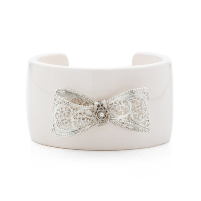 Filigree Bow Cuff in White - Arabel Lebrusan