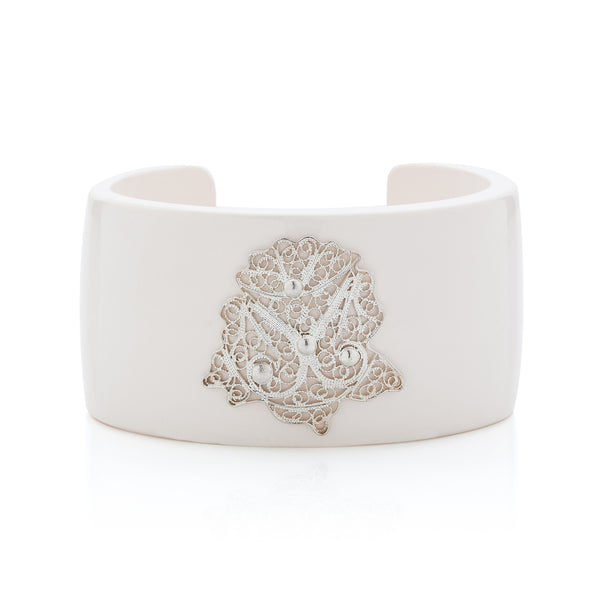 Filigree Flower Cuff in White