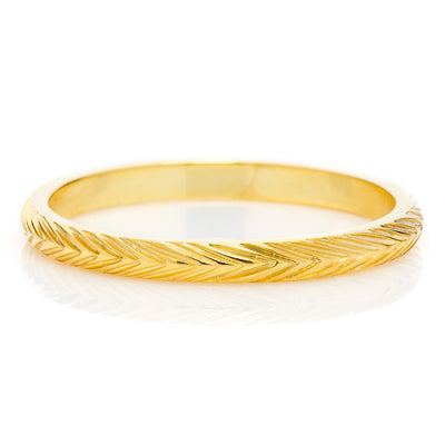 Wheat Sheaf Engraved Ethical Gold Wedding Ring 2mm