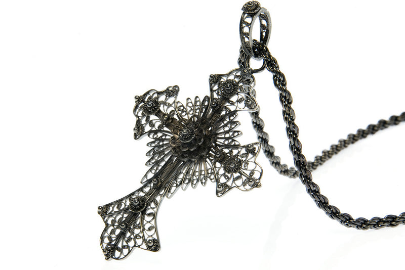 Bespoke filigree black cross pendant - 100% recycled sterling silver and black rhodium plating