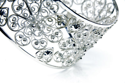 Filigree Rosette Bangle. White