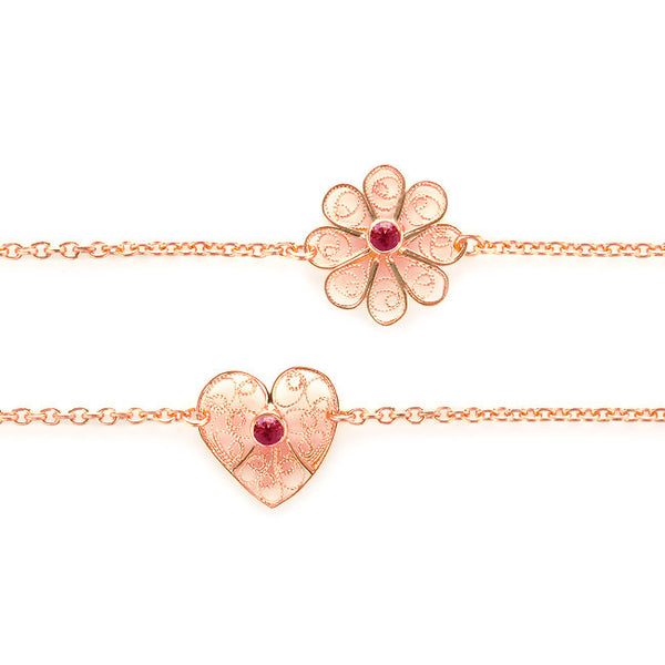 Filigree Friendship Heart Bracelet with Garnet Gemstone. Rose Gold