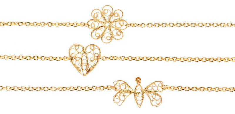 Filigree Friendship Butterfly Bracelet. Yellow Gold