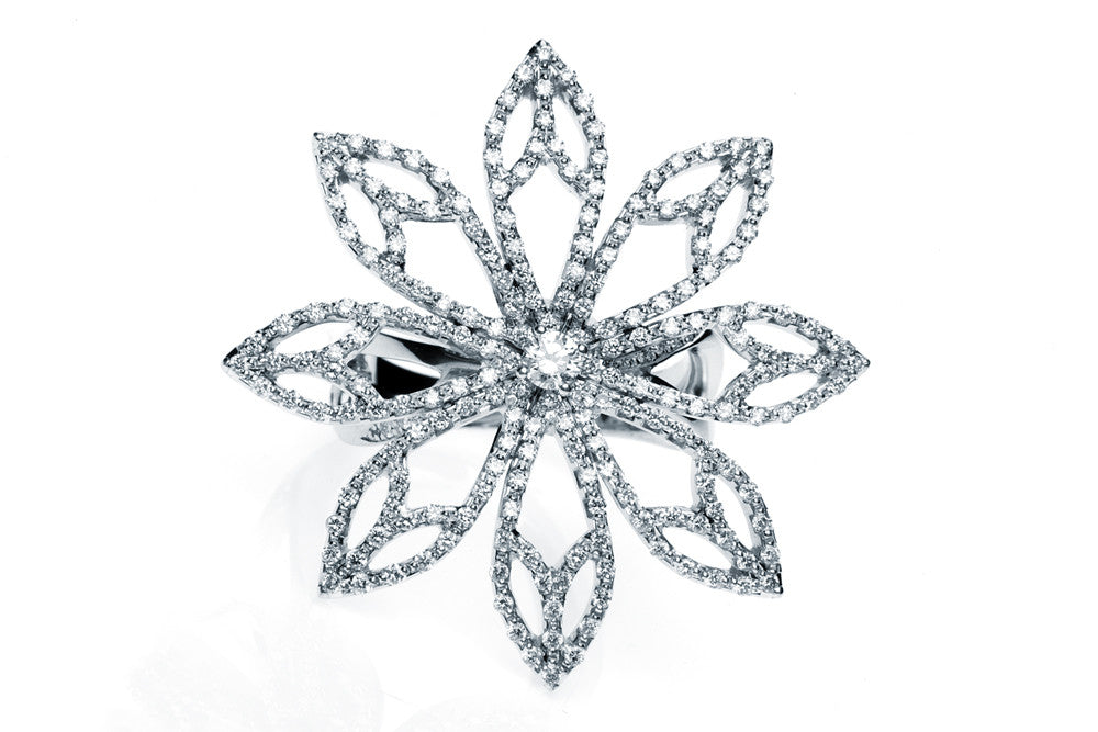 Diamond Leaf Cocktail Ring - Arabel Lebrusan