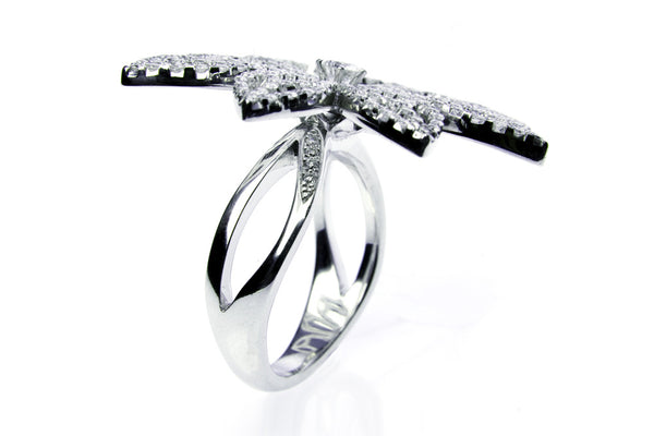 Diamond Leaf Cocktail Ring