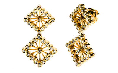 Bespoke Diamond Square drop earrings - 18ct yelow gold and conflict-free diamonds 2