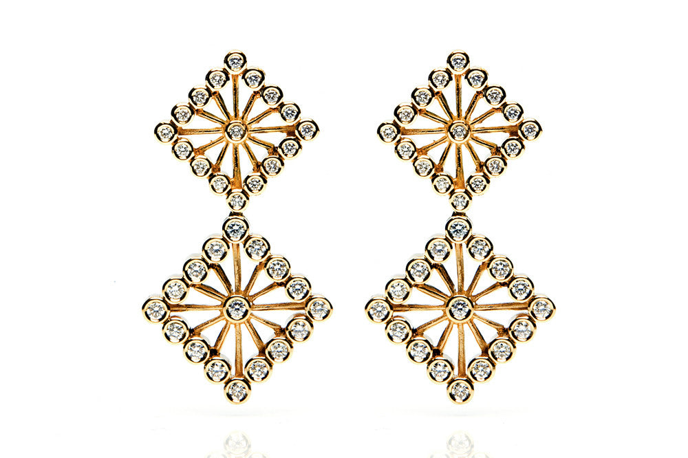 Bespoke Diamond Square Drop Earrings