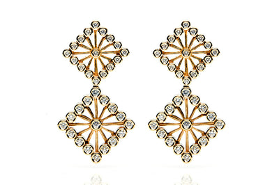 Bespoke Diamond Square drop earrings - 18ct yelow gold and conflict-free diamonds