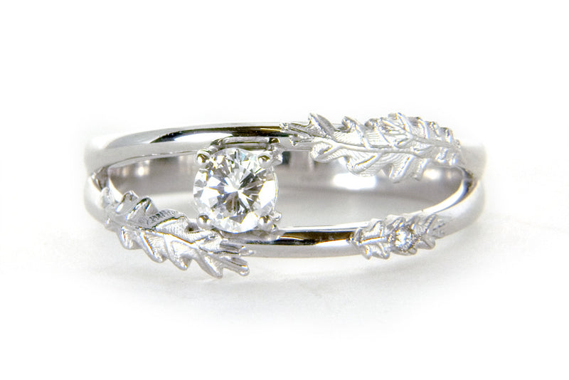 Bespoke Dominike engagement ring - nature-inspired engravings, white Fairtrade Gold and traceable Canadian diamond