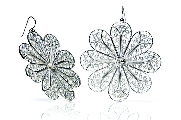 Filigree Rosette Large Earrings. White