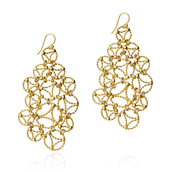 Lace Chandelier Earrings. Yellow Gold