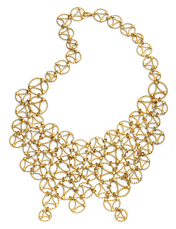 Lace Large Necklace. Yellow Gold
