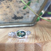 Bespoke Siobhan engagement ring - Sri Lankan green sapphire, nature-inspired motifs and white Fairmined Ecological Gold 4