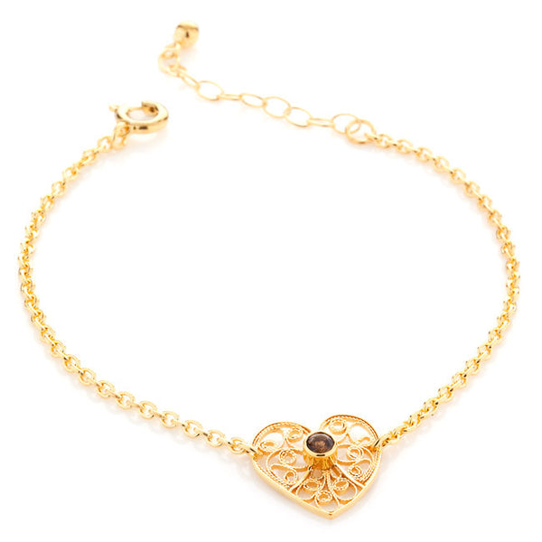 Filigree Friendship Heart Bracelet with Smoky Quartz. Yellow Gold - Arabel Lebrusan
