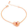 Filigree Friendship Heart Bracelet with Garnet Gemstone. Rose Gold - Arabel Lebrusan