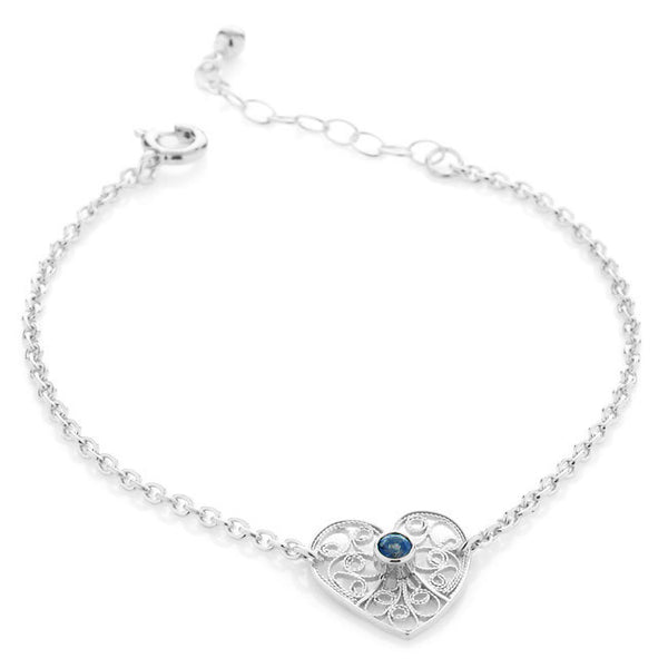 Filigree Friendship Heart Bracelet with Sapphire Gemstone. Sterling Silver - Arabel Lebrusan