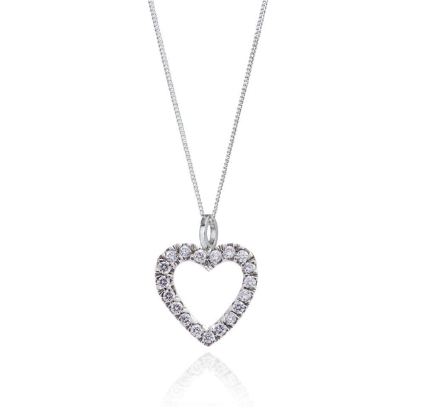 Diamond Heart Pendant. Fairtrade 18ct White gold - Arabel Lebrusan
