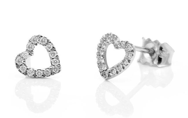 Diamond Heart Earrings. Fairtrade 18ct White gold - Arabel Lebrusan