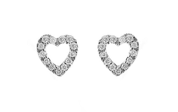Diamond Heart Earrings. Fairtrade 18ct White gold