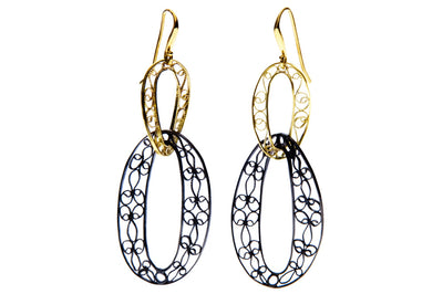 Filigree Links Drop Earrings. Gold and Black - Arabel Lebrusan