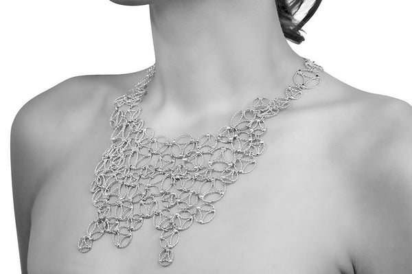 Lace Large Necklace. Sterling Silver