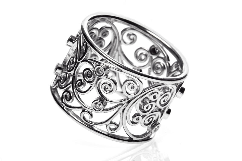 Bespoke Molly filigree engagement ring - 18ct ethical white gold and conflict-free diamonds