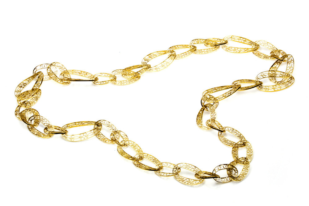 Filigree Links Long Necklace in gold. A Leblas classic - Arabel Lebrusan