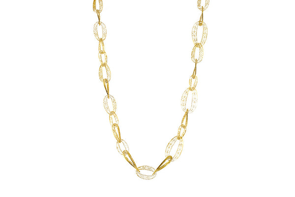 Filigree Links Long Necklace in gold. A Leblas classic
