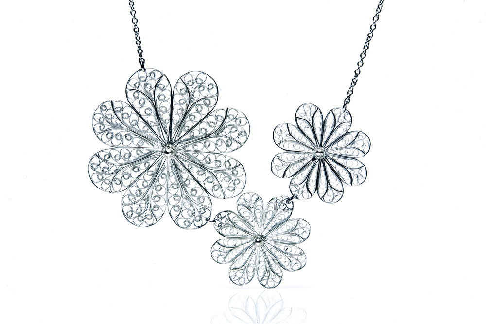 Filigree Rosette Necklace. White