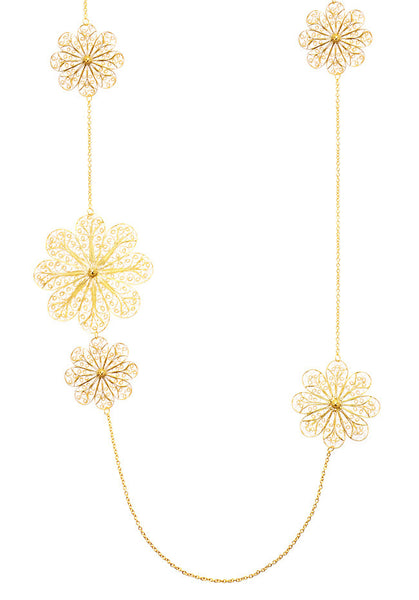 Filigree Rosette Long Necklace. Yellow Gold