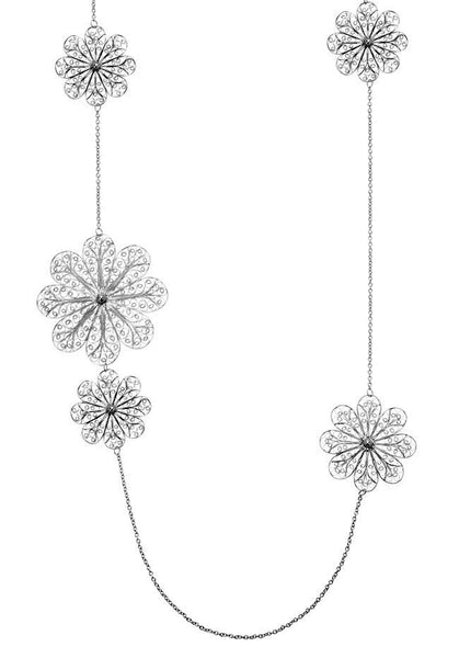Filigree Rosette Long Necklace. White