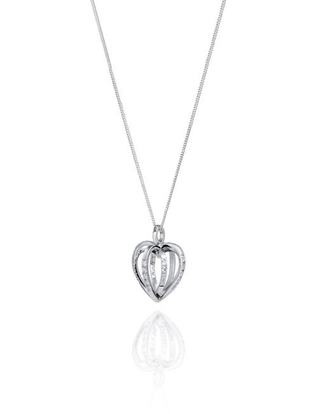 Diamond Sequin Heart Pendant. 18ct White gold