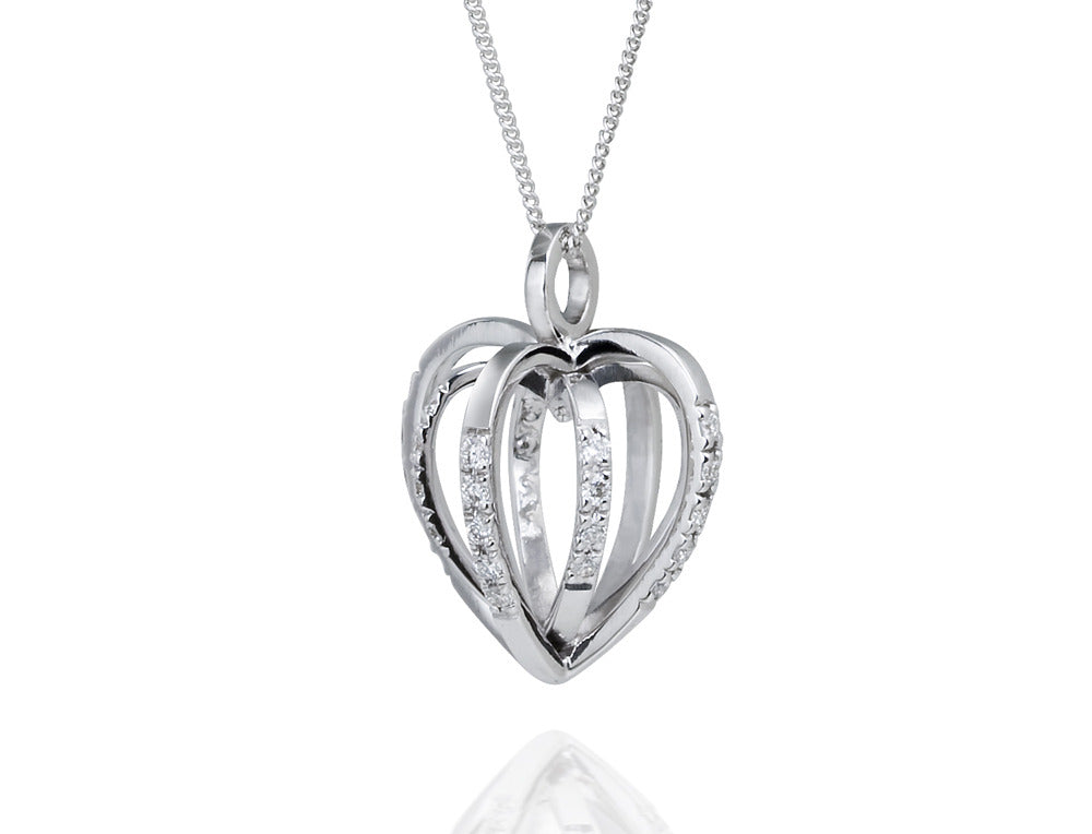 Diamond Sequin Heart Pendant. 18ct White gold - Arabel Lebrusan