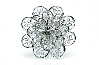 Filigree Rosette Ring. White